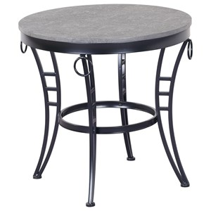 Contemporary 23.5'' Round End Table with Metal Base
