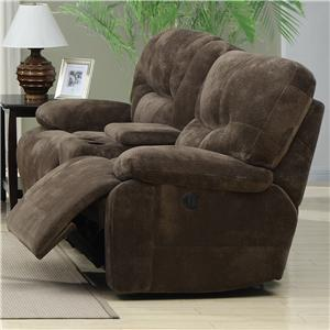 Casual Recliner Loveseat with Power Recline and Console