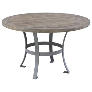 Round Dining Table with Metal Base and Rustic Charm