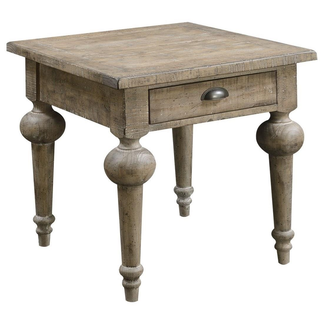 Interlude End Table Pine-Sandstone Finish Set Up by Emerald at Northeast Factory Direct