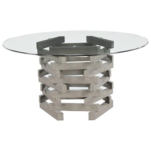 Contemporary Rustic Round Dining Table with Glass Top