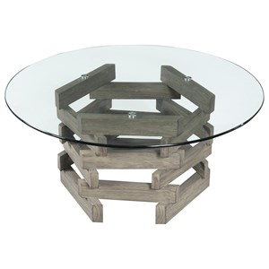 Contemporary Rustic Cocktail Table with Class Top