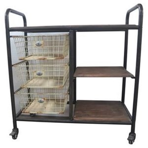 Industrial Dining Server with 3 Shelves and 3 Basket Drawers
