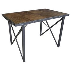 Industrial Counter Height Dining Table with Black Metal Legs