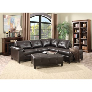 3-Piece Sectional and Ottoman Set with Tufting