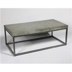 Concrete-Finish & Brushed Nickel Cocktail Table