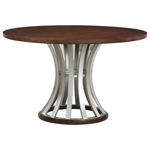 Industrial Round Gathering Table with Metal Base