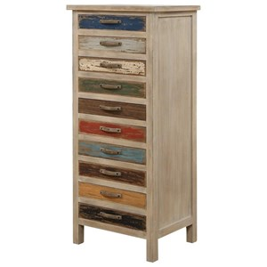 Multi Color Tall 10-Drawer Accent Chest