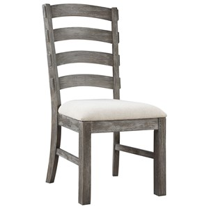 Slat Back Side Chair with Upholstered Seat and Rustic Charcoal Finish
