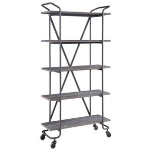 "Industrial 5-Shelf 36"" Bookshelf with Casters"
