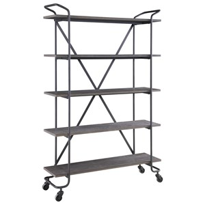 "Industrial 5-Shelf 48"" Bookshelf with Casters"
