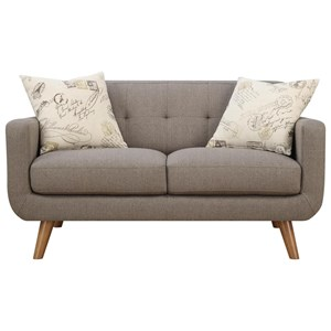 Tufted Back Contemporary Loveseat with 2 Accent Pillows