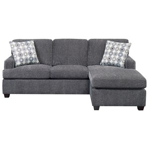 Transitional Queen Sleeper Sofa with Chaise