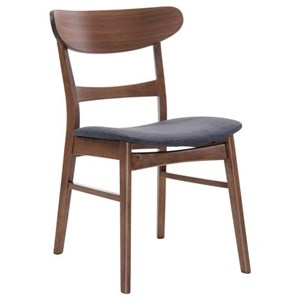 Side Chair with Upholstered Seat and Curved Wood Back
