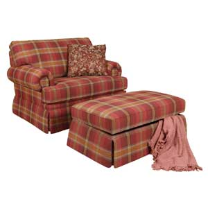 Accent Chair and Skirted Ottoman