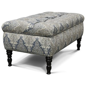 Transitional Storage Ottoman with Tufted Top