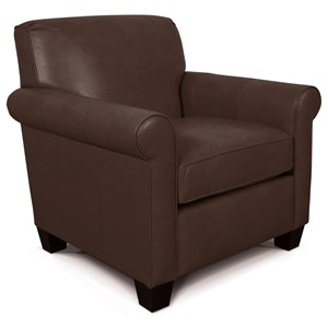 Casual Rolled Arm Chair With Welt Cord Trim