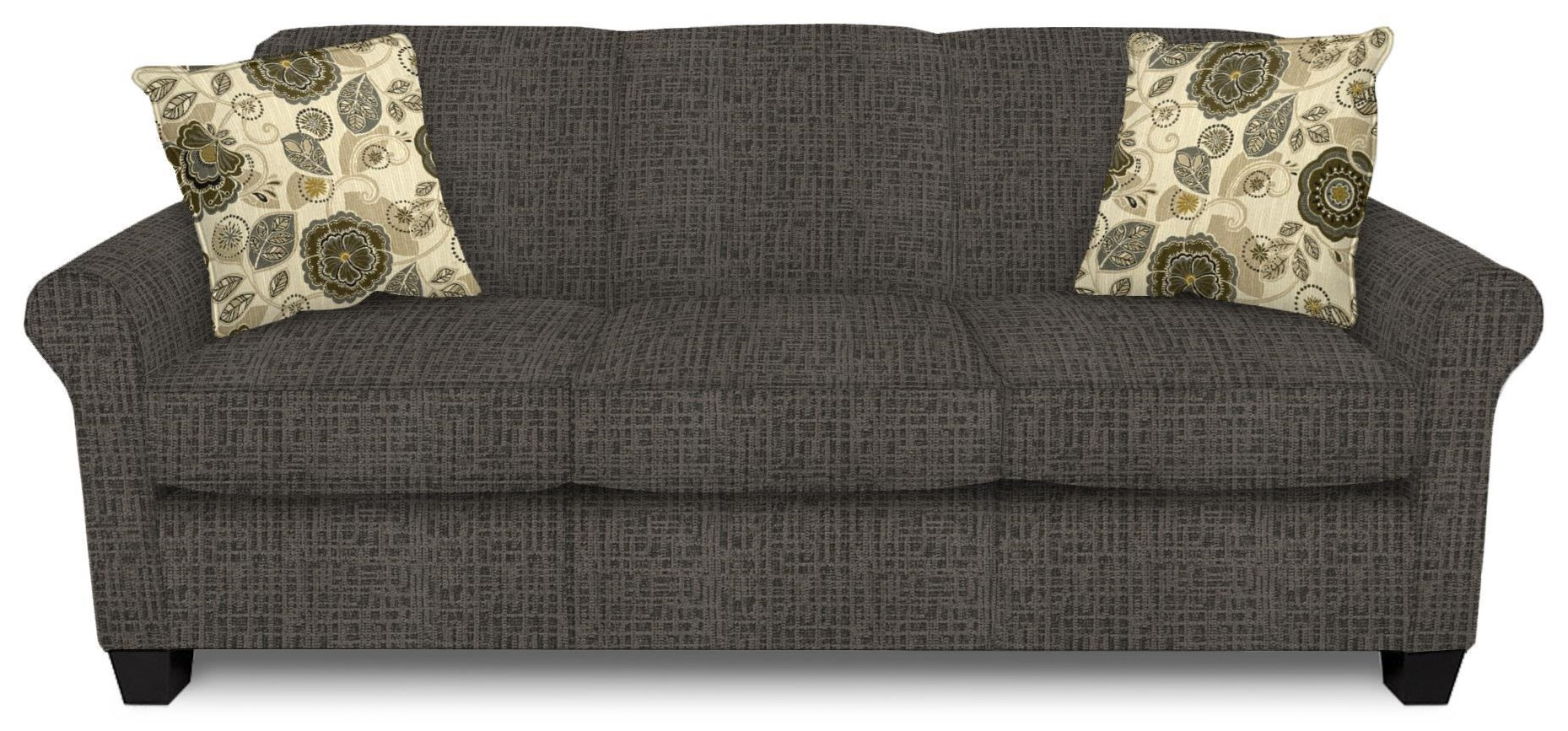 Casual Rolled Arm Sofa With Accent Pillows
