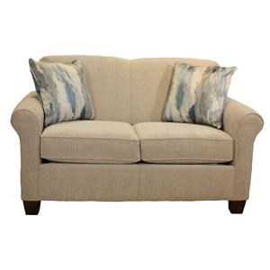Rolled Arm Love Seat With Accent Pillows