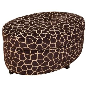 Betty Oval Storage Ottoman for Living Room Footrest with Storage Space