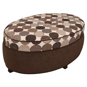 Oval Storage Ottoman for Living Room Footrest with Storage Space