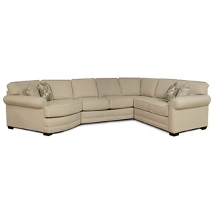 Casual 4-Piece Sectional with Cuddler