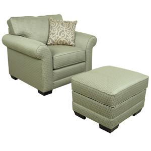 Upholstered Stationary Chair and Ottoman