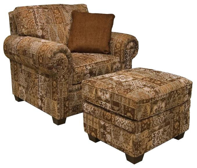 Brett Rolled Arm Chair & Ottoman by England at Suburban Furniture