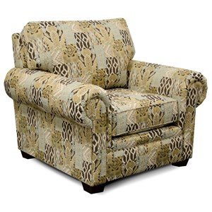 Rolled Arm Chair with Exposed Block Legs