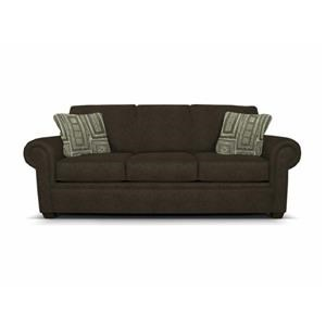 Rolled Arm Sofa with Exposed Block Legs