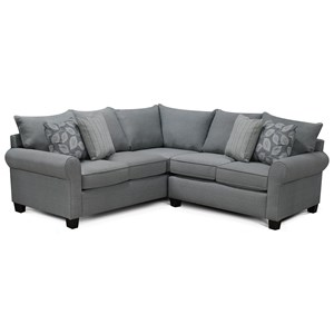 Casual Sectional Sofa with Rolled Arms
