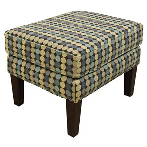 Casual Ottoman with Tall Wooden Legs