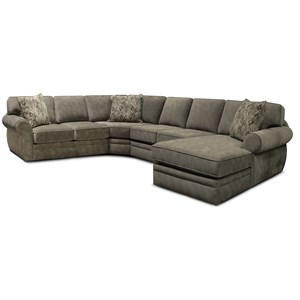 Casual 4 Piece Stationary Sectional with Chaise
