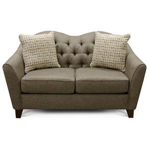 England Easton 2X00 Loveseat with Tufted Camel Back