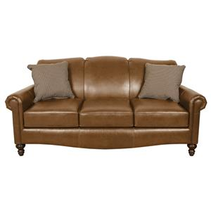 Traditional Leather Upholstered Sofa