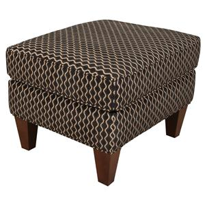 Transitional Accent Ottoman with Tapered Legs and Welt Trim