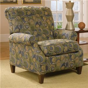 Contemporary High Leg Recliner with Rolled Arms