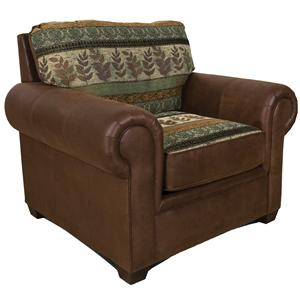 Upholstered Chair with Wide Rolled Arms
