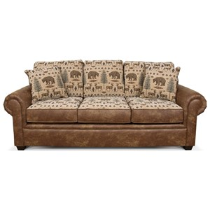 Stationary Sofa with Large Rolled Arms