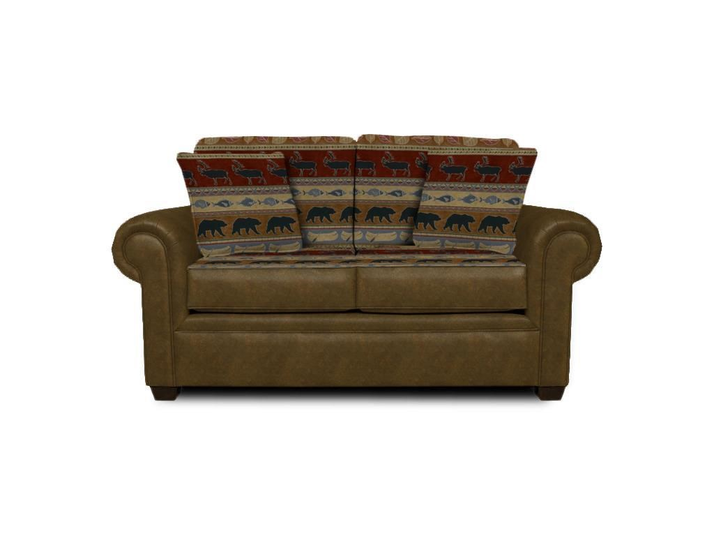 Loveseat with Wide Rolled Arms