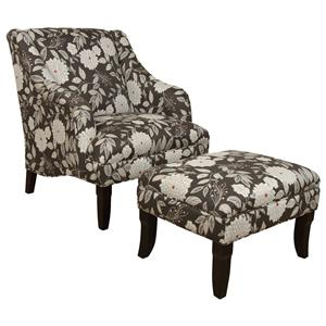 Formal Cottage Themed Chair and Ottoman Set