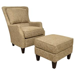 Transitional Styled Accent Chair and Ottoman Set