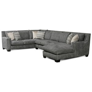 Contemporary Sectional Sofa with Chaise and Nailhead Trim