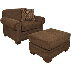Traditional Upholstered Chair & a Half and Ottoman