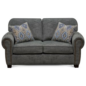 Traditional Loveseat with Rolled Arms and Nailhead Trim