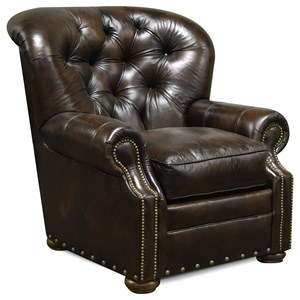 Traditional Leather Arm Chair with Nailhead Trim