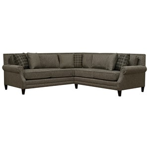 Transitional 2-Piece Sectional with Rolled Arms