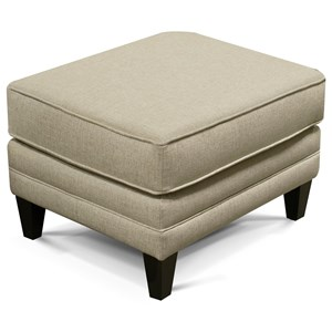 Transitional Ottoman with Exposed Wood Legs