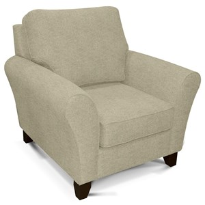 Transitional Flared Arm Chair with Wooden Legs