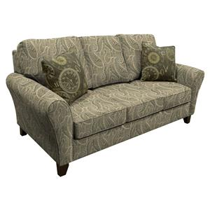 Transitional Flared Arm Sofa with Wooden Legs